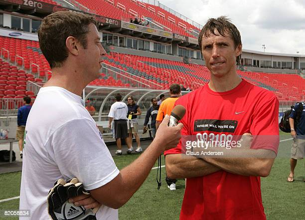 NBA basketball player Steve Nash is interviewed during the MLS All Star Media Game at BMO Field on July 24 2008 in Toronto Canada
