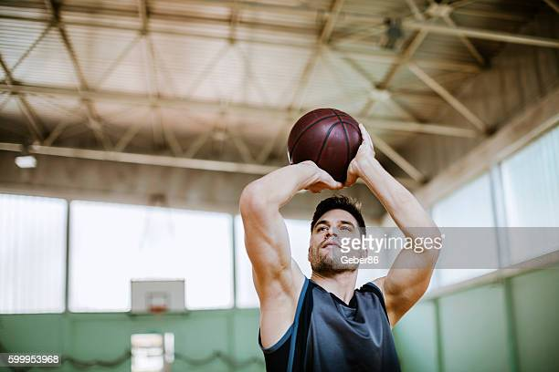 Basketball player taking a shot