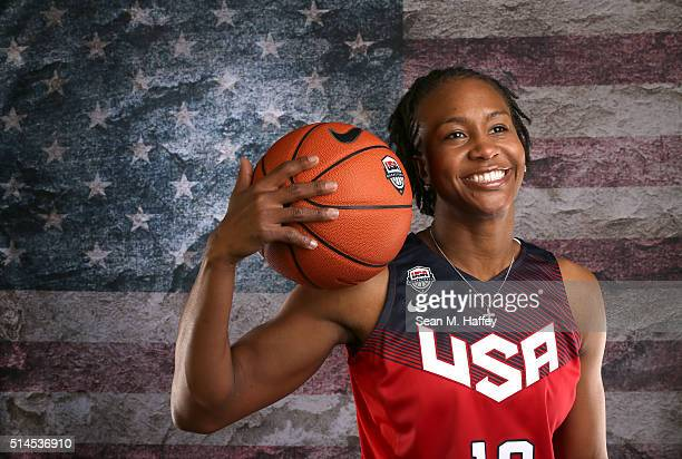 Basketball player Tamika Catchings poses for a portrait at the 2016 Team USA Media Summit at The Beverly Hilton Hotel on March 9 2016 in Beverly...