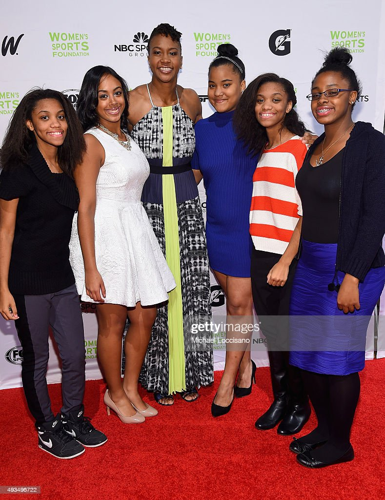 Basketball Player, Tamyka Catchings (3rd from R), poses with Sports For Life Grant recipients the 36th Annual Salute to Women In Sports at Cipriani Wall Street on October 20, 2015 in New York City.