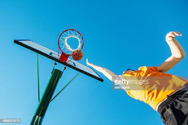 Basketball player to hoop