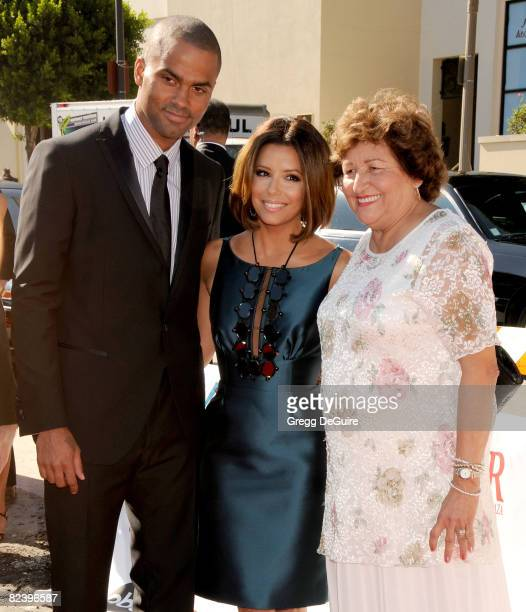 Basketball Player Tony Parker Actress Eva Longoria and mom arrive at The 2008 ALMA Awards at the Pasadena Civic Auditorium on August 17 2008 in...