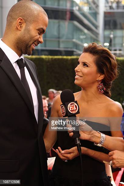 Basketball player Tony Parker and wife actress Eva Longoria Parker speak at the ET Platform during the 62nd Annual Primetime Emmy Awards held at...