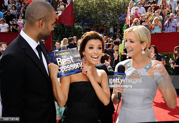 Basketball player Tony Parker and wife actress Eva Longoria Parker speak with TV personality Lara Spencer at the Insider Platform during the 62nd...
