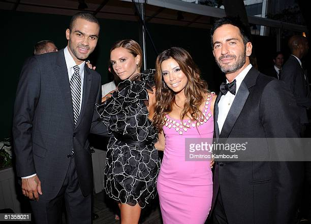 Basketball player Tony Parker Victoria Beckham actress Eva Longoria Parker and designer Marc Jacobs attend the 2008 CFDA Fashion Awards at The New...