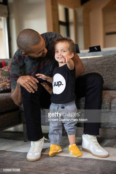 Basketball player Tony Parker with his son Liam are photographed for Paris Match at home on September 2 2018 in San Antonio United States