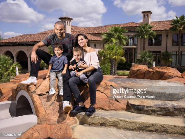 Basketball player Tony Parker with his wife Axelle and their sons Josh and Liam are photographed for Paris Match at home on September 2 2018 in San...