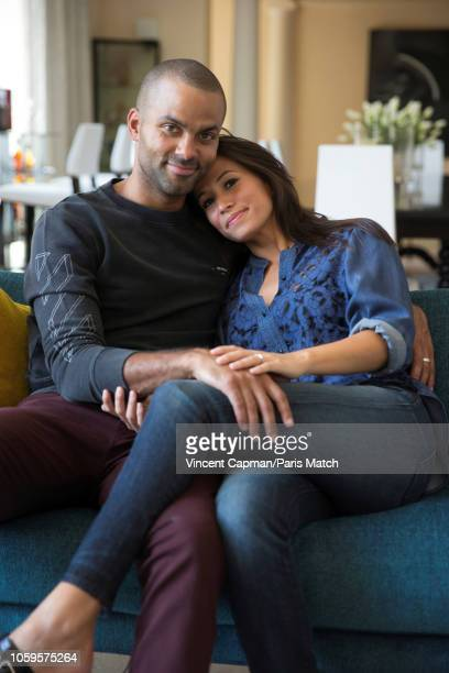 Basketball player Tony Parker with his wife Axelle are photographed for Paris Match at home on September 2 2018 in San Antonio United States