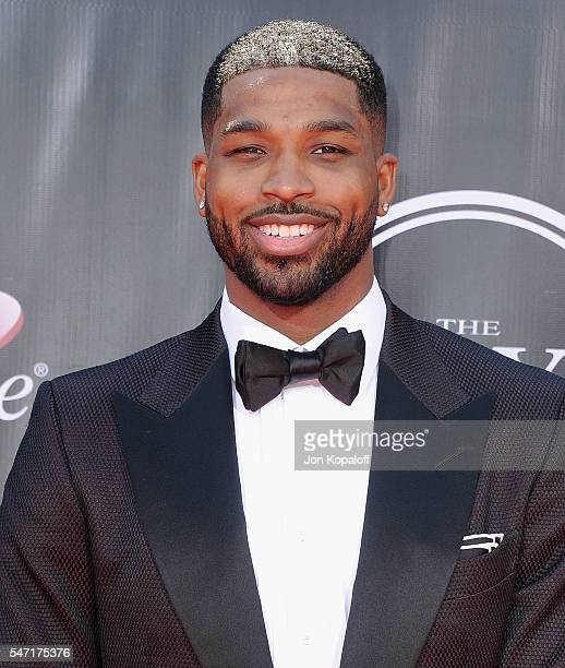 NBA basketball player Tristan Thompson arrives at The 2016 ESPYS at Microsoft Theater on July 13 2016 in Los Angeles California