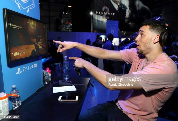 Basketball player Zach LaVine attends Activision And Bungie Celebrate The Gameplay World Premiere Of 'Destiny 2' at Jet Center Los Angeles on May 18...