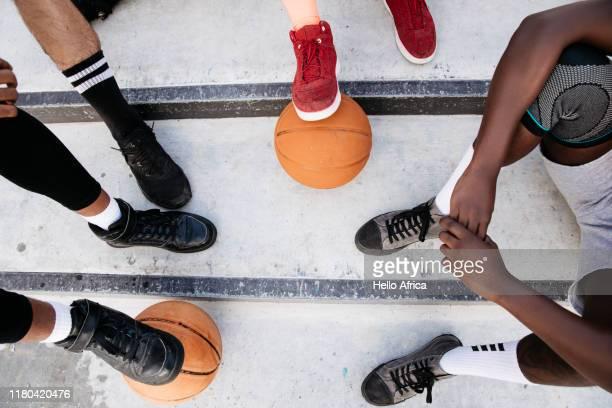 Basketball player's feet on steps