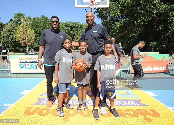 Basketball players Felipe Lopez and Vin Baker attend Nickelodeon's 13th Annual Worldwide Day Of Play at The Nethermead Prospect Park on September 17...