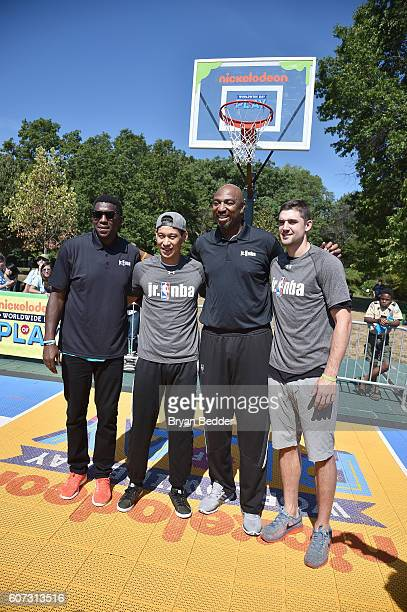 Basketball players Felipe Lopez Jeremy Lin and Joe Harris attend Nickelodeon's 13th Annual Worldwide Day Of Play at The Nethermead Prospect Park on...
