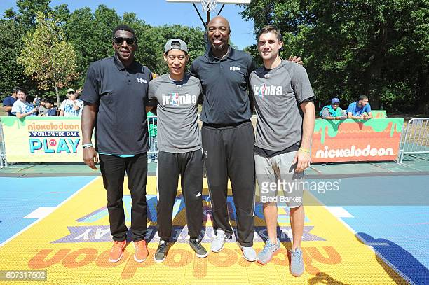 Basketball players Felipe Lopez Jeremy Lin Vin Baker and Joe Harris attend Nickelodeon's 13th Annual Worldwide Day Of Play at The Nethermead Prospect...