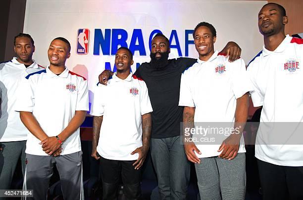 NBA basketball players Kawhi Leonard of the San Antonio Spurs Damian Lillard of the Portland Trailing Blazers Brandon Jennings of the Detroit Pistons...
