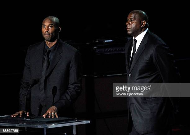 Basketball players Kobe Bryant and Earvin Magic Johnson Jr speak at the Michael Jackson public memorial service held at Staples Center on July 7 2009...