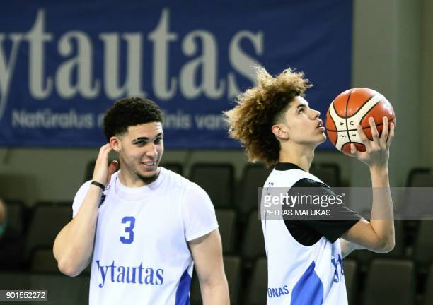 US basketball players LiAngelo Ball and Lamelo Ball takes part in their first training session in Prienai Lithuania where they will play for the...