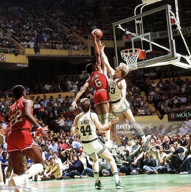 Basketball playoffs Boston Celtics Larry Bird in action vs Philadelphia 76ers Julius Erving Boston MA 5/23/1982