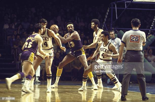 Basketball playoffs Los Angeles Lakers Wilt Chamberlain in action vs Milwaukee Bucks Lew Alcindor Milwaukee WI 4/13/1971