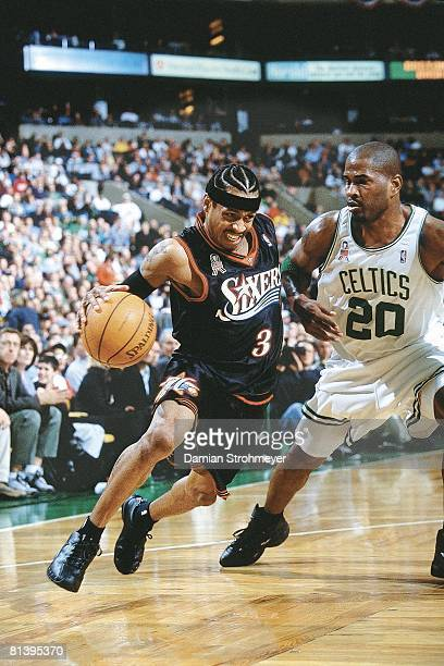 Basketball playoffs Philadelphia 76ers Allen Iverson in action vs Boston Celtics Erick Strickland Boston MA 4/25/2002