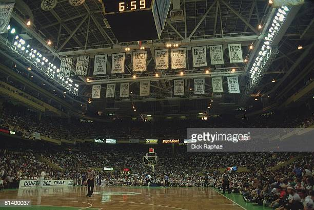 Basketball playoffs View of banners at Boston Garden stadium before Boston Celtics vs Detroit Pistons game Boston MA 5/21/1987