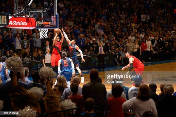 Portland Trail Blazers CJ McCollum in action shooting vs Oklahoma City Thunder Russell Westbrook at Chesapeake Energy Arena Oklahoma City OK CREDIT...
