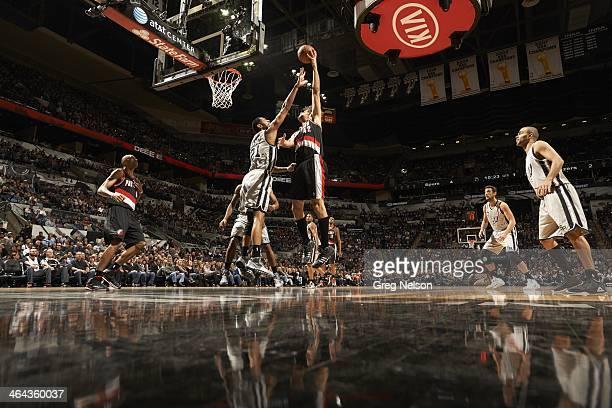 Portland Trail Blazers Robin Lopez in action vs San Antonio Spurs Tim Duncan at ATT Center San Antonio TX CREDIT Greg Nelson