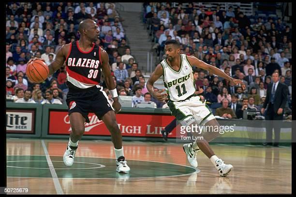 Portland Trail Blazers Terry Porter in action vs Milwaukee Bucks Lee Mayberry