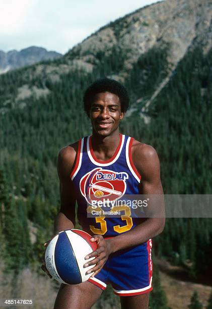 Portrait of Denver Nuggets David Thompson during photo shoot in front of Rocky Mountains Colorado CREDIT Carl Iwasaki