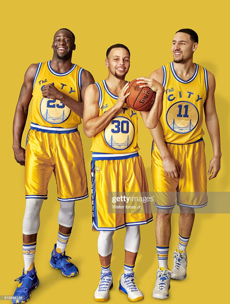 Portrait of Golden State Warriors (L-R) forward Draymond Green (23), point guard Stephen Curry (30), and shooting guard Klay Thompson (11) during photo shoot at Sheraton Centre Toronto Hotel. Cover. Walter Iooss Jr. TK1 )