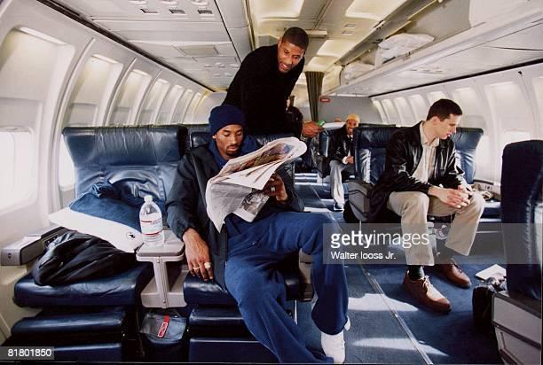 Basketball Portrait of Los Angeles Lakers Kobe Bryant on airplane 1/1/20023/18/2002