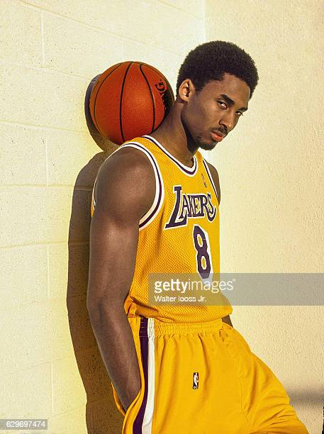 Portrait of Los Angeles Lakers Kobe Bryant posing with basketball during photo shoot Los Angeles CA CREDIT Walter Iooss Jr