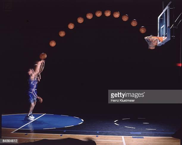 Portrait of Orlando Magic Mark Price shooting free throw Multiple exposure FL 3/17/1998 CREDIT Heinz Kluetmeier