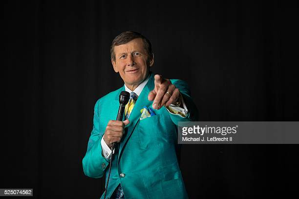 Portrait of TNT sideline reporter Craig Sager posing while holding microphone during photo shoot at Quicken Loans Arena Sager who recently slipped...