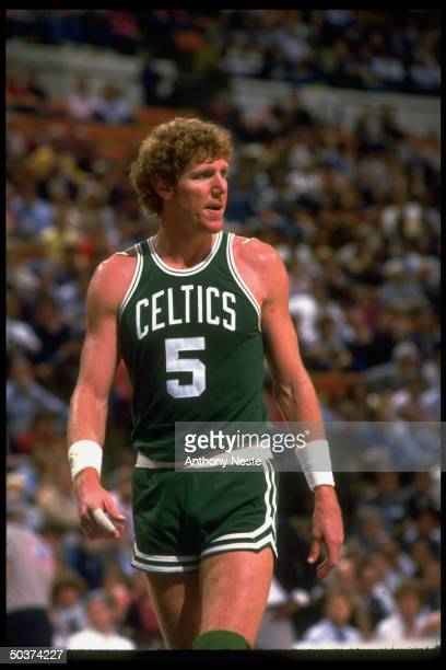 Preseason Portrait of Boston Celtics Bill Walton alone during game vs Indiana Pacers