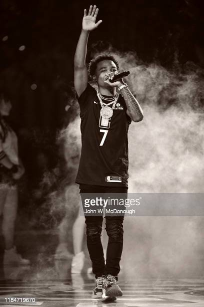 Rapper Roddy Ricch performing during halftime of Los Angeles Clippers vs Houston Rockets at Staples Center Los Angeles CA CREDIT John W McDonough