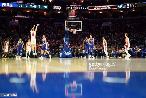 Rear view of Detroit Pistons Henry Ellenson in action shooting from three point range vs Philadelphia 76ers at Wells Fargo Center Philadelphia PA...