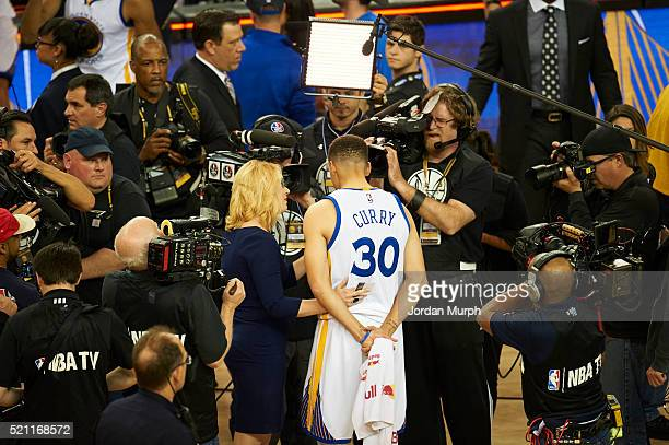 Rear view of Golden State Warriors Stephen Curry during media interview with ESPN analyst Doris Burke after winning game game vs Memphis Grizzlies at...