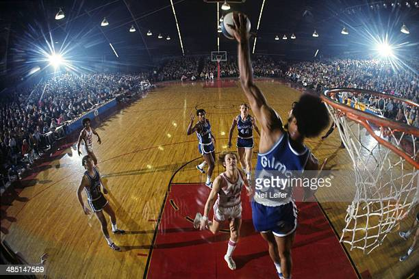 Rear view of Kentucky Colonels Artis Gilmore in action shot block vs New York Nets Rick Barry at Island Garden Arena West Hempstead NY CREDIT Neil...