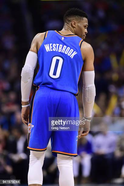 Rear view of Oklahoma City Thunder Russell Westbrook during game vs San Antonio Spurs at Chesapeake Energy Arena Oklahoma City OK CREDIT Greg Nelson