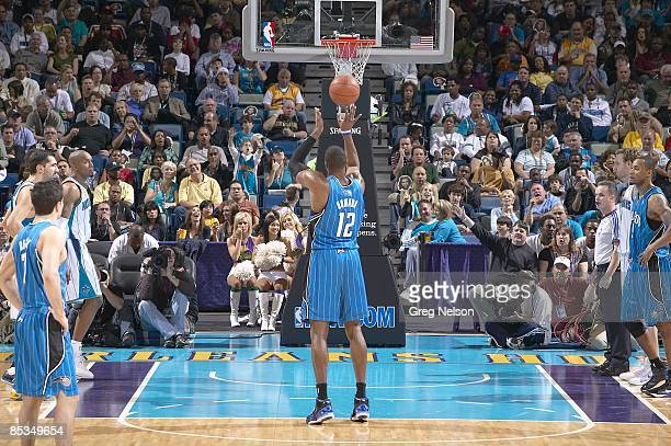 Rear view of Orlando Magic Dwight Howard during free throw vs New Orleans Hornets New Orleans LA 2/18/2009 CREDIT Greg Nelson
