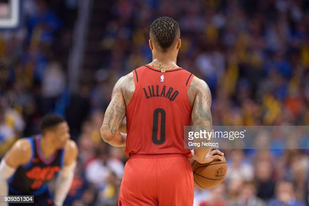 Rear view of Portland Trail Blazers Damian Lillard during game vs Oklahoma City Thunder at Chesapeake Energy Arena Oklahoma City OK CREDIT Greg Nelson
