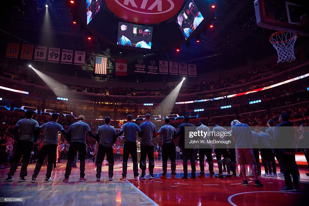 Rear view of Portland Trail Blazers players during anthem before ... 798a89faf2111