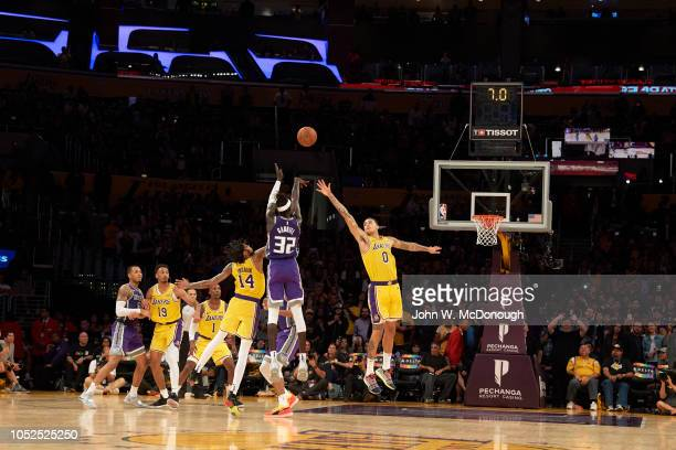 Rear view of Sacramento Kings Wenyen Gabriel in action shooting vs Los Angeles Lakers Kyle Kozma during preseason game at Staples Center Los Angeles...