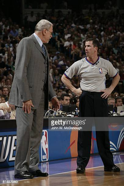 Basketball: Referee Tim Donaghy on sidelines with Los Angeles Lakers coach Phil Jackson during game vs Sacramento Kings, Sacramento, CA 4/11/2004