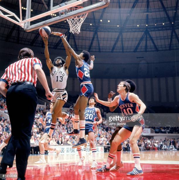 San Antonio Spurs James Silas in action vs Denver Nuggets Mike Green San Antonio TX 1/25/1975