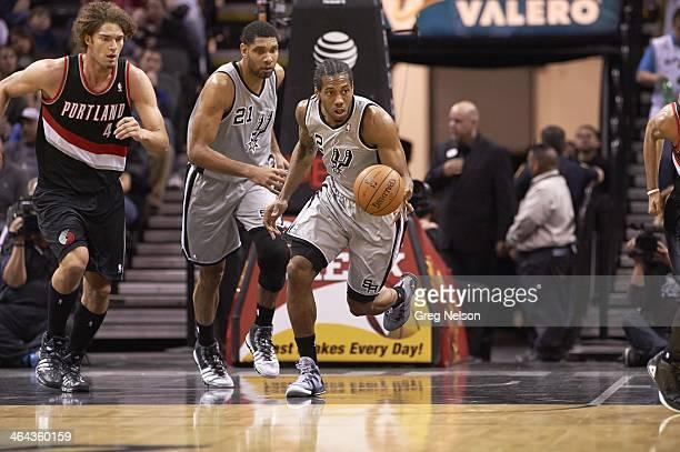San Antonio Spurs Kawhi Leonard in action vs Portland Trail Blazers at AT&T Center. San Antonio, TX 1/17/2014 CREDIT: Greg Nelson