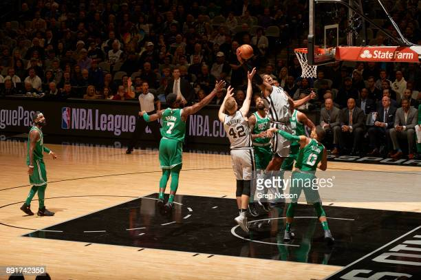 San Antonio Spurs LaMarcus Aldridge in action rebounding vs Boston Celtics at ATT Center San Antonio TX CREDIT Greg Nelson