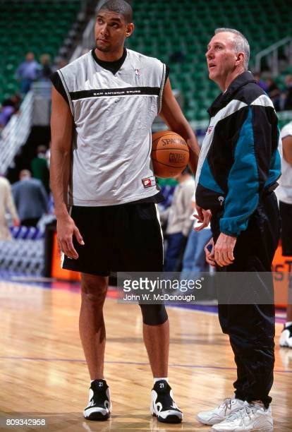 San Antonio Spurs Tim Duncan with coach Gregg Popovich before game vs Utah Jazz at Delta Center Salt Lake City UT CREDIT John W McDonough