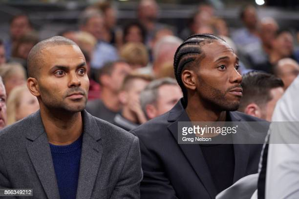 San Antonio Spurs Tony Parker and Kawhi Leonard on bench during game vs Minnesota Timberwolves at ATT Center San Antonio TX CREDIT Greg Nelson